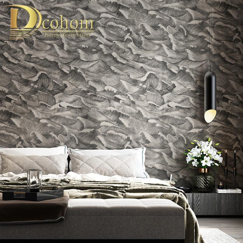Preto, papel de parede cinzento clássico Quarto Modern Art Design abstrato rolos de papel Revestimentos Fundo