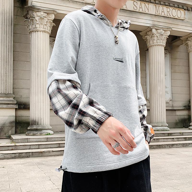 Fall-Männer japanischer Tide Marke Art und Weise mit Kapuze Strickjacke losen langärmeliges Rundhals Jugend Kopf gefälschtes zweiteiliges Shirt Gezeiten
