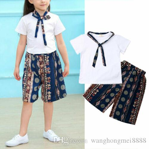 Toddler Kids Baby Girl Summer Clothings Sets White Tops T-shirt Casual Print Shorts 2Pcs Princess Cute Outfits Clothes Sunsuits
