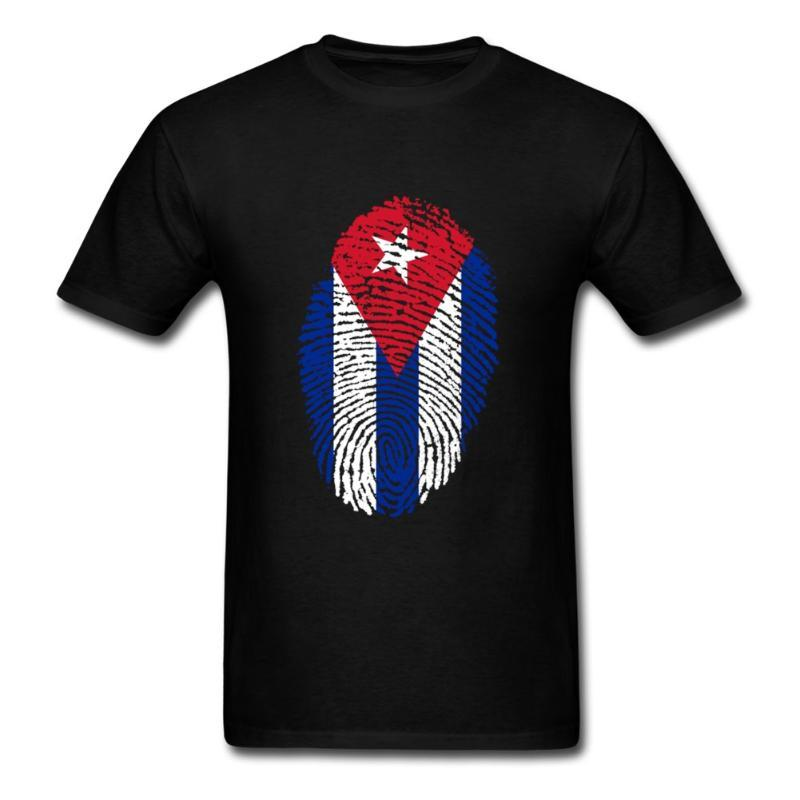 New Man Blank Cuba Flag Fingerprint Tee Shirts Shirt Fashion Men T-shirts Short Sleeved Cotton Round Neck T-shirt For Teenage