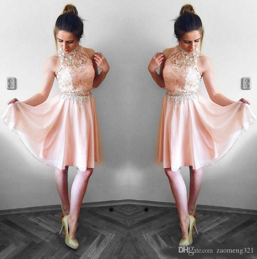 Compre Lovely Blush Pink Vestidos De Baile 2019 Una Línea De Encaje Con Cuello Halter Top Gasa Mini Vestido De Cóctel Corto Vestidos De Fiesta Vestido
