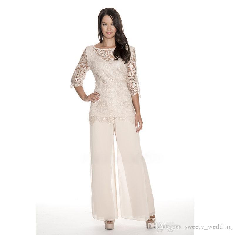 Alta calidad de encaje madre de la novia trajes de pantalón Sheer Bateau cuello boda vestido de invitado dos piezas más el tamaño de gasa madres vestidos de novio