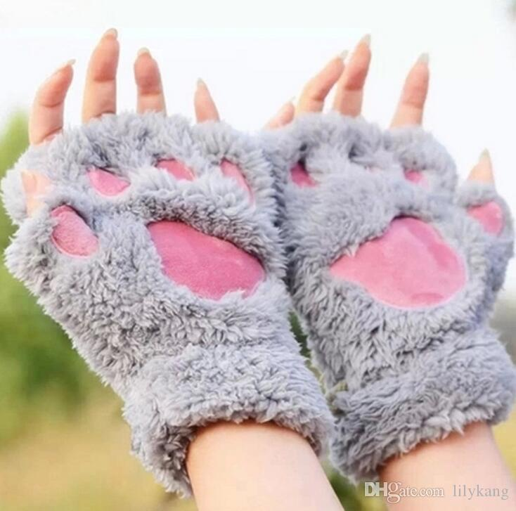 winter warm animal bear paws gloves cute girl kids fluffy plush Gloves Mittens Halloween Christmas cosplay prop cat claw mitts