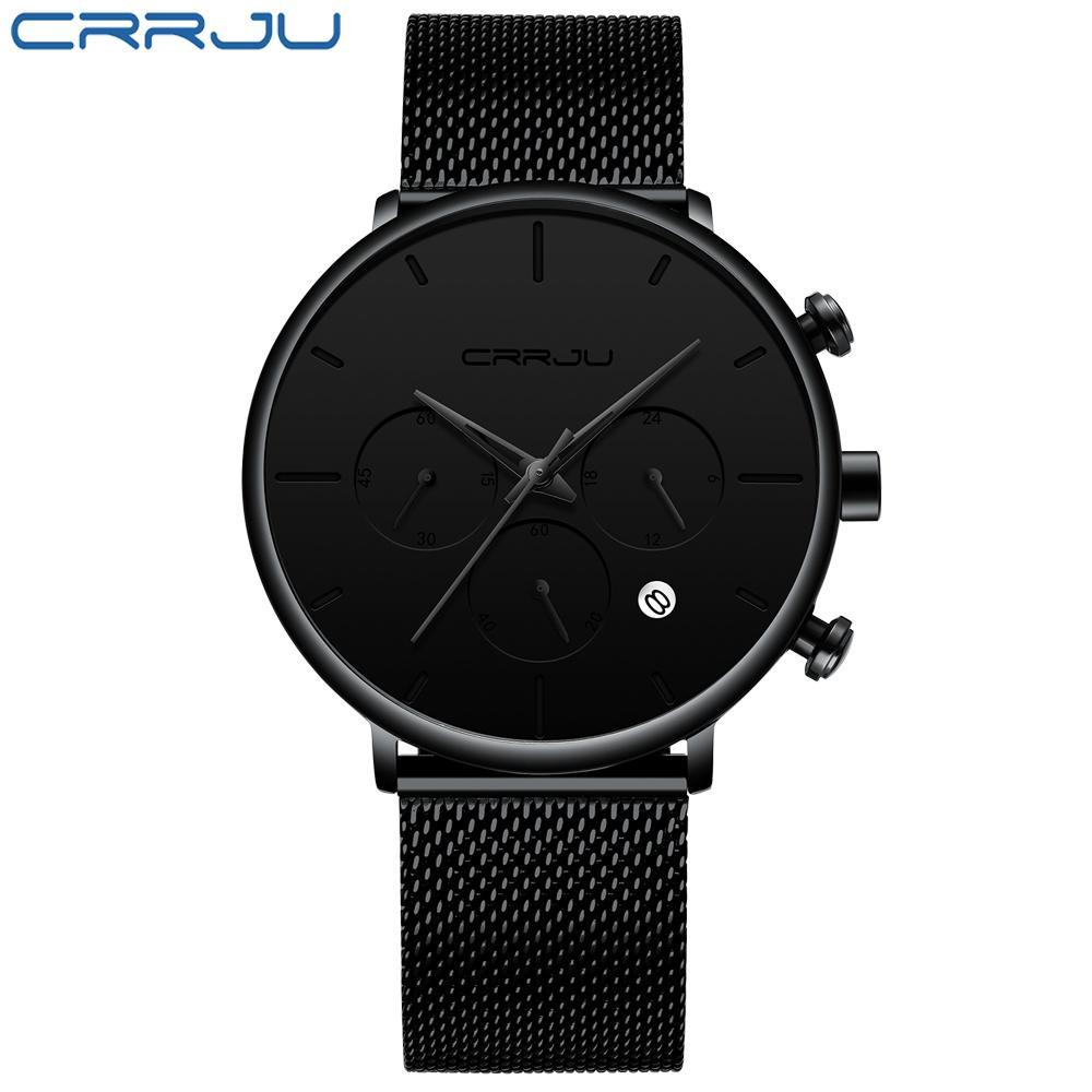 Crrju Sports Mens Watches Top Brand Luxury Waterproof Sport Watch Men Ultra Thin Dial Quartz Watch Casual Relogio Masculino Y19051302