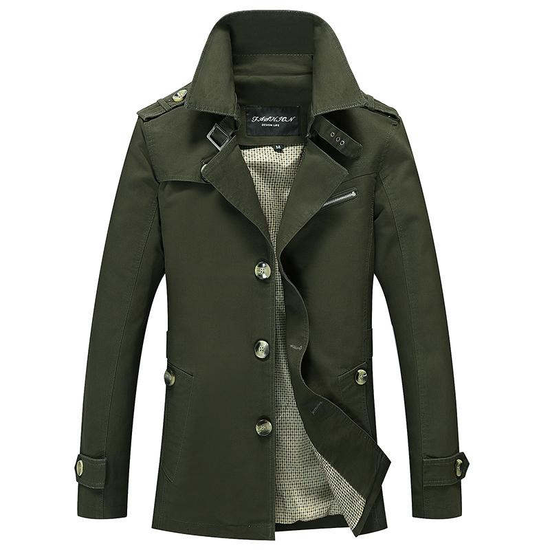 Мужчины военных грузов Куртки Бизнес Повседневный длинный хлопок пальто куртка Мужчины Марка Классический Iconic Trench однобортный Шинель Мужчины LY191206