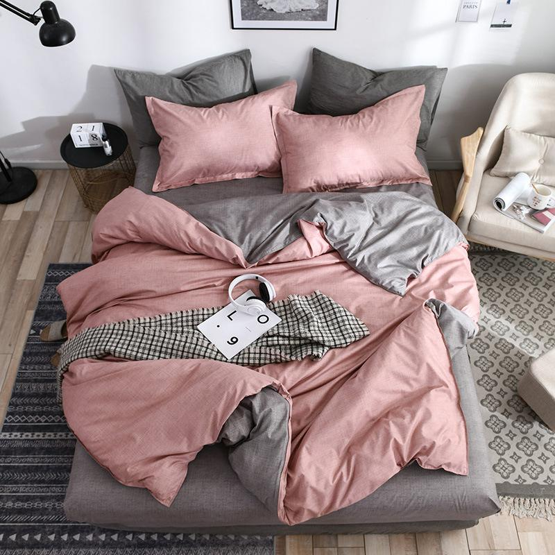 2019 New AB side bedding solid simple bedding set Modern duvet cover set king queen full twin linen brief bed flat sheet set