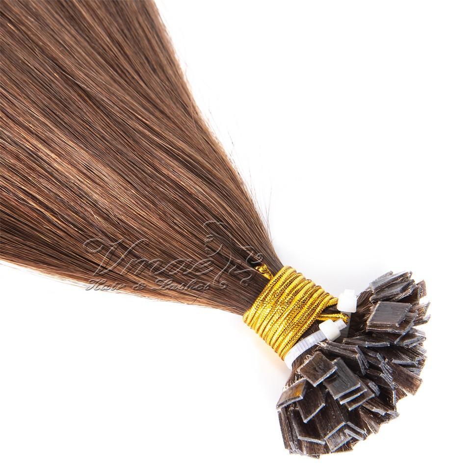 VMAE кератина Fusion Бразильское Европейский Светлый цвет U I FLAT V Наконечник для ногтей Один Донор Remy девственницы Straight Предварительно связанный человеческих волос