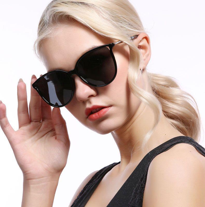 Damas Polarizado marco gafas de sol de moda de Corea del estilo de las gafas de sol Full HD antideslumbrante clásico de conducción gafas de sol UV400