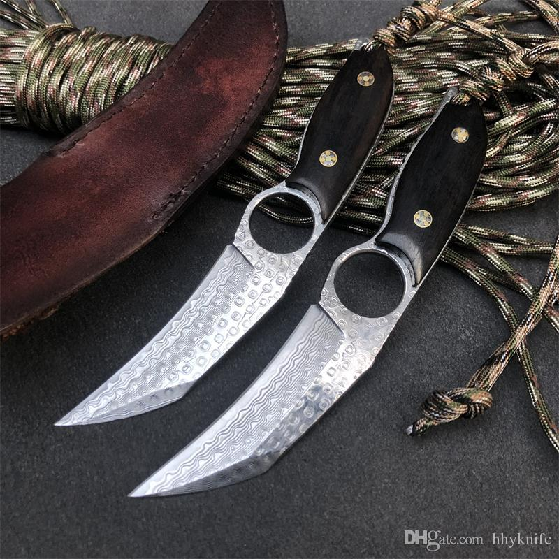 New Arrival Damascus Fixed Blade Knife VG10 Damascus Steel Blade Full Tang Ebony Handle Tactical Knives With Leather Sheath