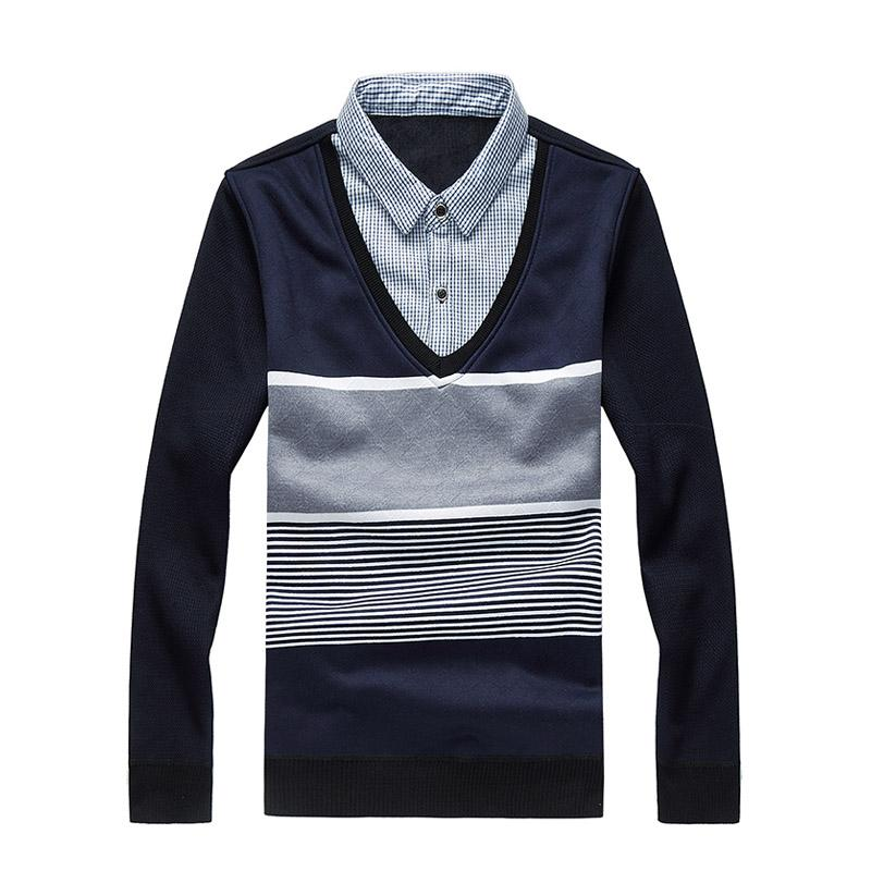2018 New Hiver chaud Mode Polaire Casual Hommes Pull col Patchwork Pulls Tricot rayé SWETER hommes