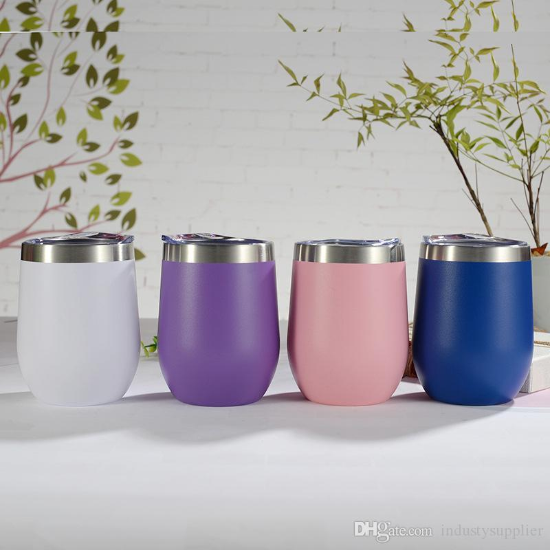 Egg Cup Wine Glass Tumbler 12oz Double Wall Vacuum Insulated Mint Light Blue Pink Gold Rose Coral Stainless Steel Cup Mugs