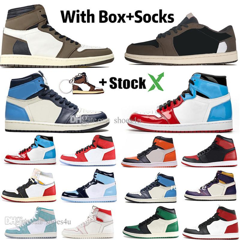 1 High Travis Scotts Low Fearless Obsidian Mens Basketball shoes Spiderman UNC TURBO GREEN Banned Bred Toe Men Sport Designer Sneakers
