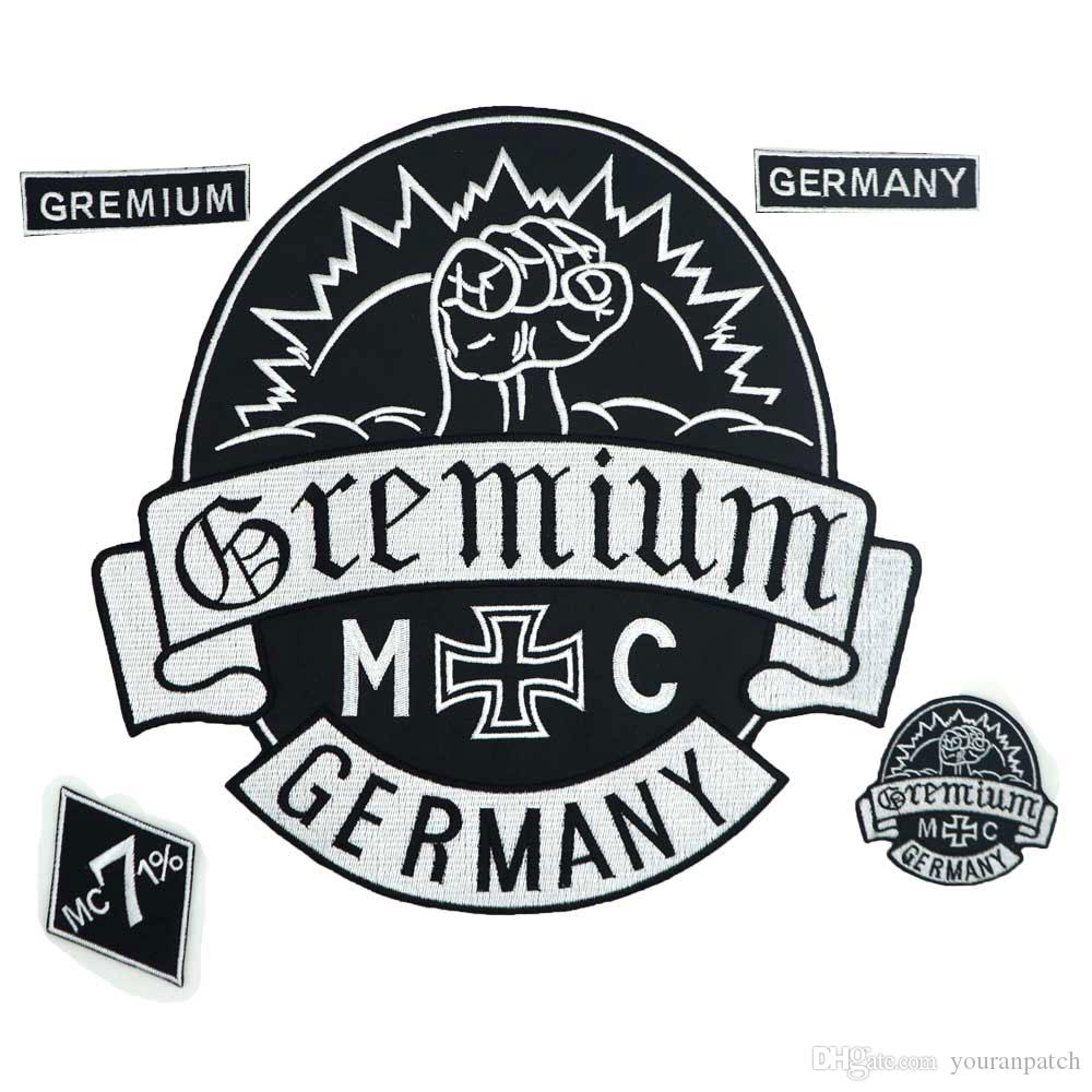 GREMIUM GERMANY MC large punk embroidered iron on backing biker patch badge for jacket jeans 5 pieces /SET