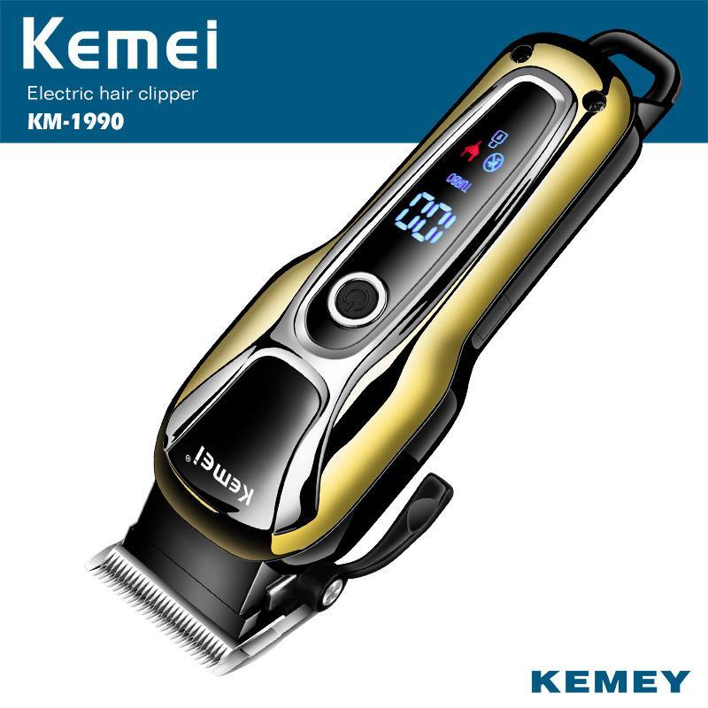 Kemei Hair Clipper Tondeuse pour cheveux professionnels dans la tondeuse à cheveux pour hommes Tondeuse à écran LCD Machine à écran LCD Bearb de la barbe faciale