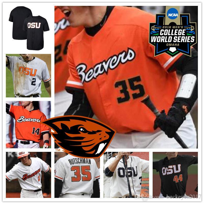 Personnalisé OSU Oregon State Beavers Baseball Blanc Orange Noir Surpiqué N'importe quel Numéro Nom # 3 Nick Madrigal 35 Adley Rutschman 2018 CWS Maillot