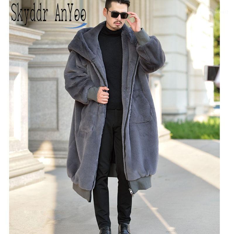 Manteaux de fourrure surdimensionnée d'hiver à capuchon Hommes Femmes en fausse fourrure Manteau chaud Fermeture à glissière luxe survêtement décontracté Vestes en cuir d'hiver Robe1