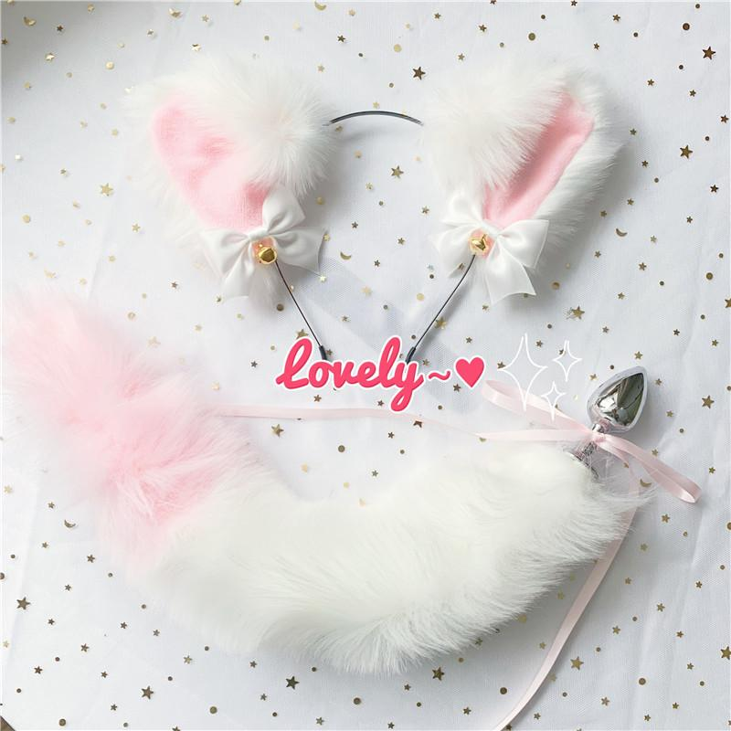 Cute Soft Neko Ears Headbands Faux Fox Tail Metal Butt Anal Plug Erotic Anime Cosplay Accessories Adult Sex Toys for Couples T200630