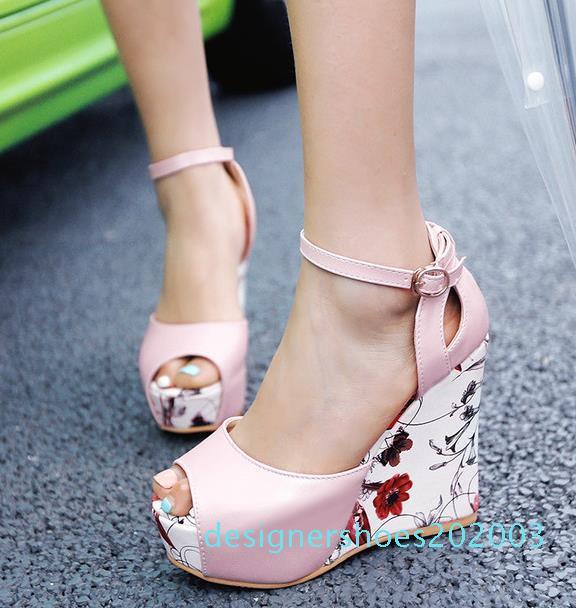 ViVi Lena sweet floral prints patchwork pweep toe shoes women platform wedges heels sandals pink blue white size 34 to 40 03d