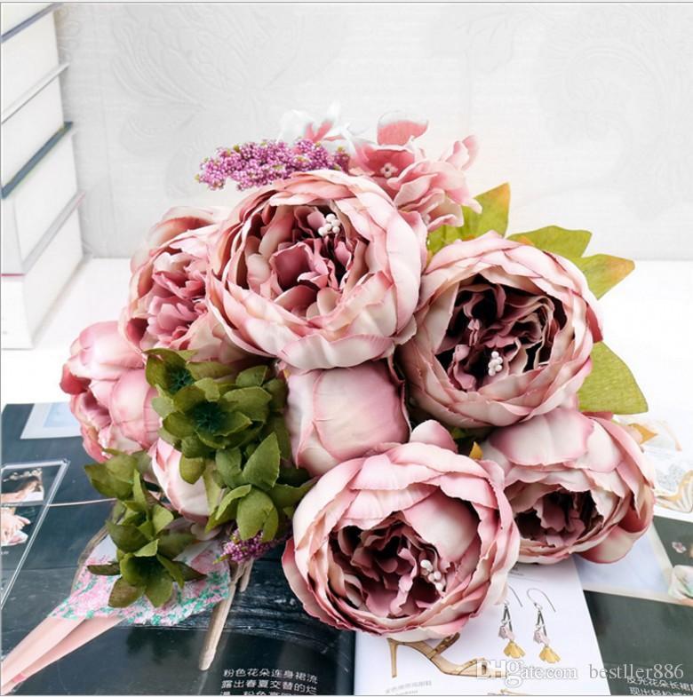 13 머리 / Bouque 크리스마스 인공 꽃 실크 꽃 유럽 가을 생생한 모란 가짜 잎 웨딩 홈 파티 장식