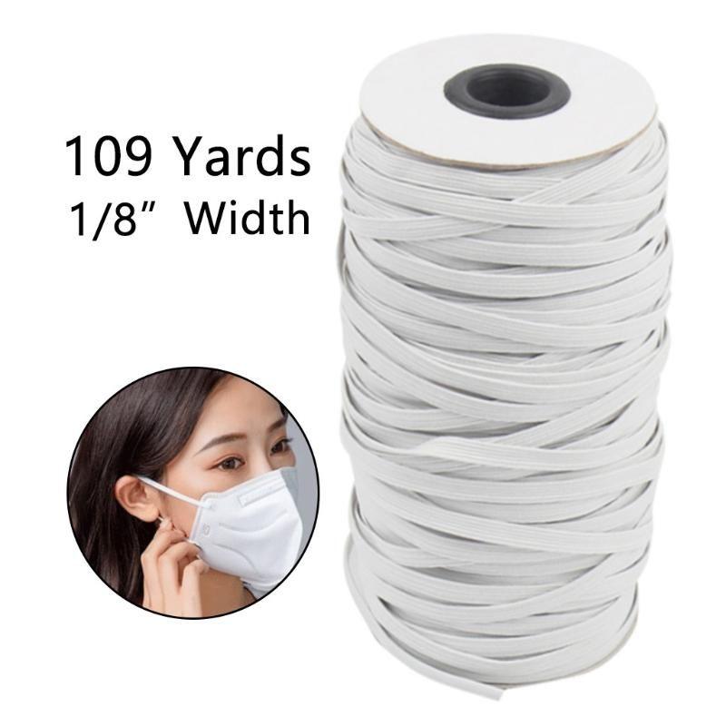 1 لفة من 3MM 100M قناع DIY شريط مطاطي شريط مطاطي تعديل حبل قناع الأنف