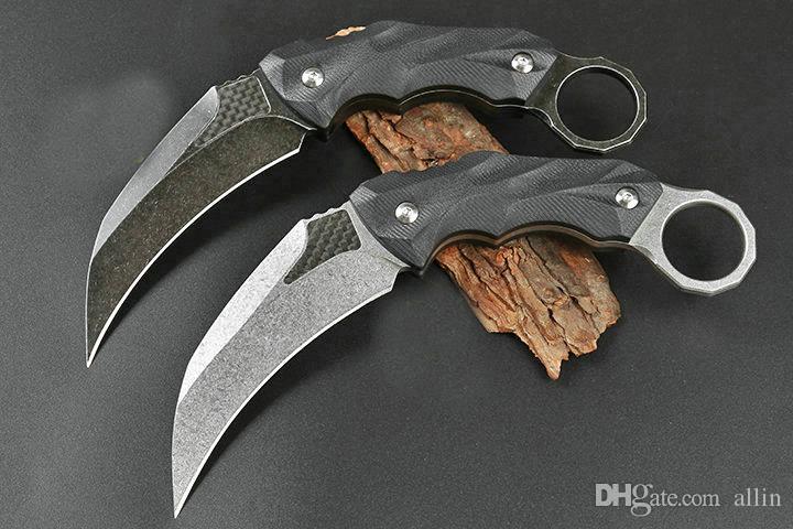 Top qualidade Karambit D2 Stone Wash Lâmina completa Tang Preto G10 Handle externas táticos Garra facas com Kydex