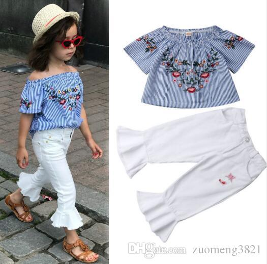 Toddler Kids Baby Girl Off spalla fiore Top T Shirt Pantaloni Flare Pantaloni Leggings Casual Bambini vestiti Set