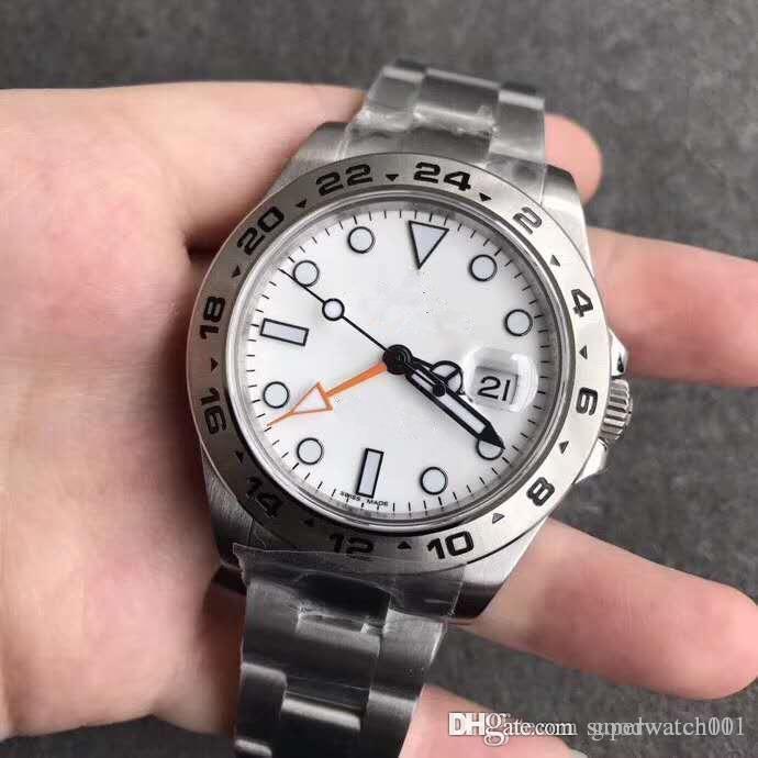 lüks erkek Watch 40MM Beyaz Explorer II Ref.216570GMT Biçimi 316L Paslanmaz Çelik Yüksek Kalite Otomatik Mekanik Watcher expl Dial