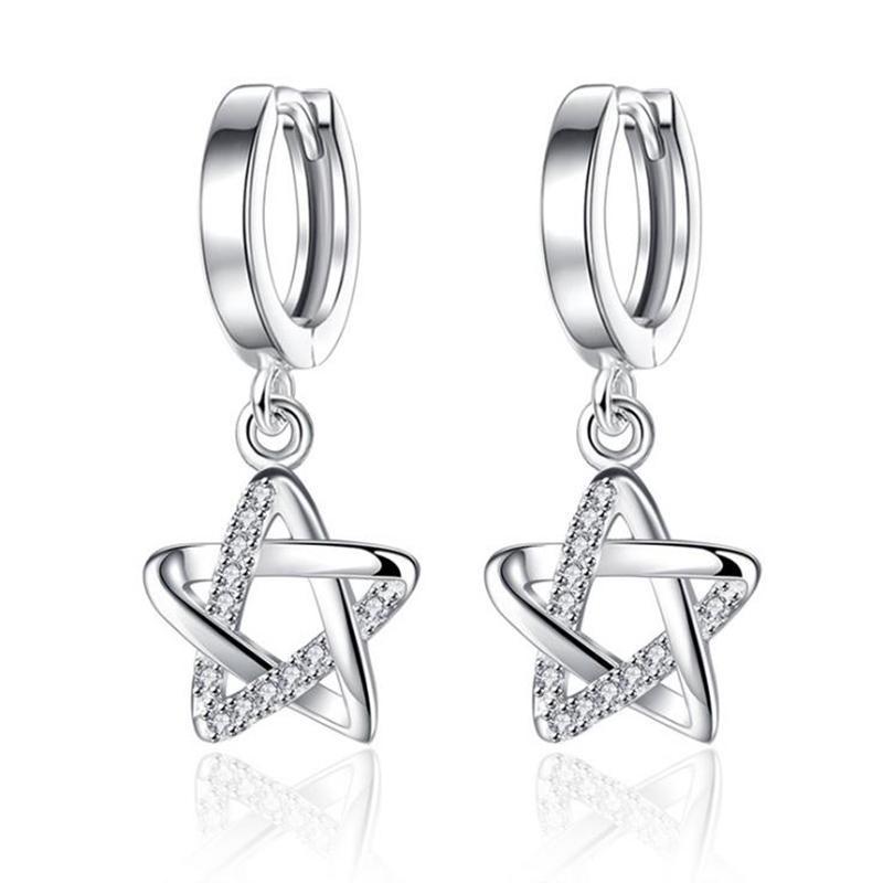 New Fashion Crystal Star Earring For Women 925 Sterling Silver Hoop Earring Female Korean Ear Jewelry Kolczyki KY481