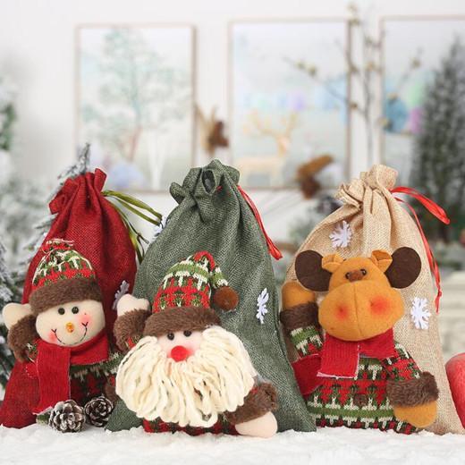 Weihnachten Schnür-Geschenk-Beutel-Mädchen-Handtasche Cartoon Weihnachtsmann Schneemann Elk Leinen Großer Süßigkeit-Geschenk-Beutel Weihnachtsdekoration LXL618L
