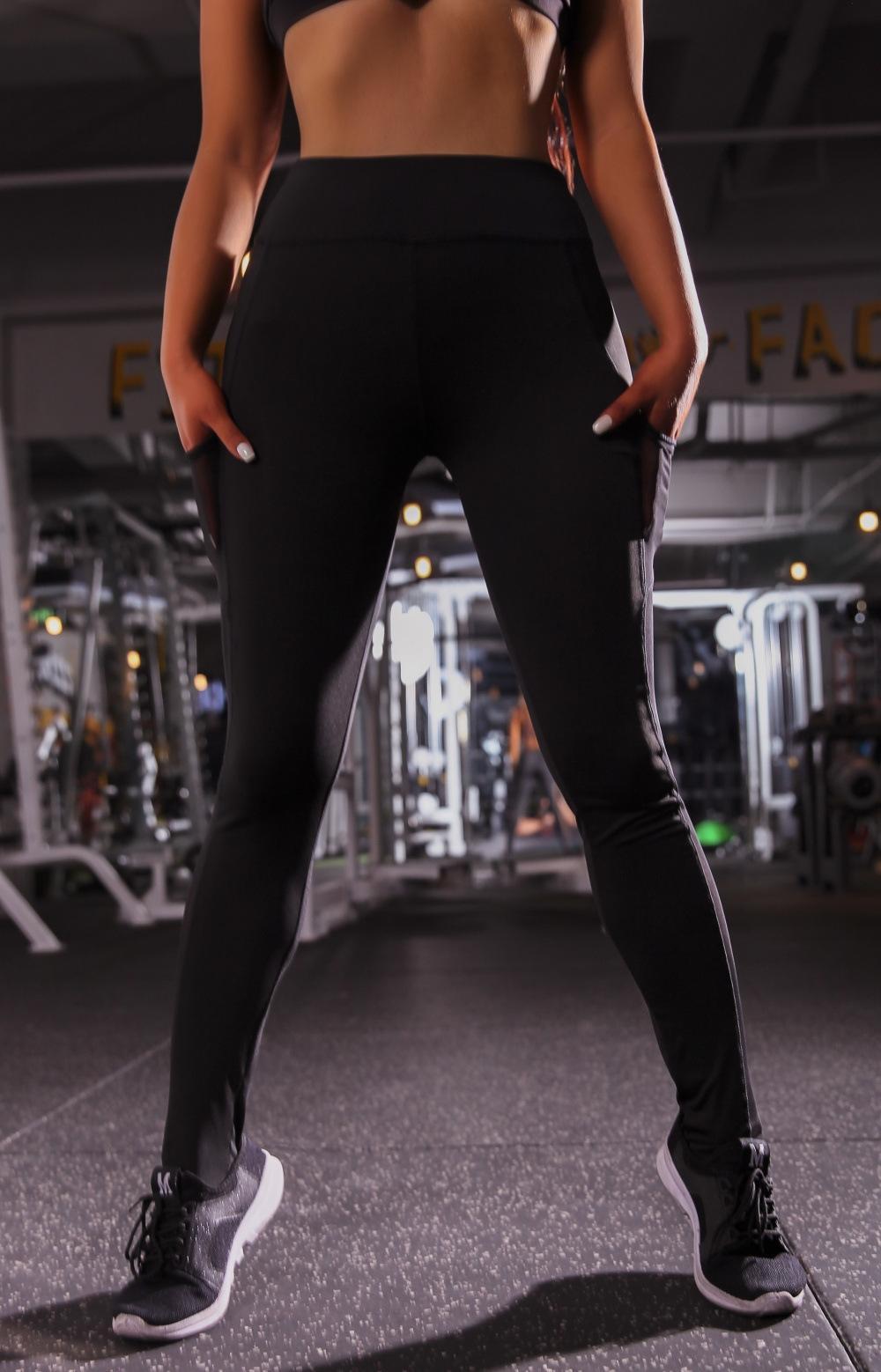 nXOnt heiße Verkaufs-Seitentasche lange Naht Enge schnelltrockn Hosengamaschen Sport Gaze keucht Yoga pantsYoga