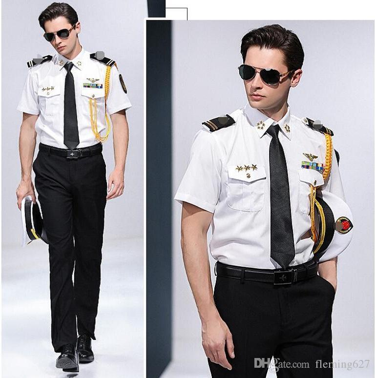 여름 중국 승무원 크루즈 선박 선장 셔츠 선원 옷 셔츠 + 바지 + 액세서리 코스프레 성능 유니폼 남성 정장