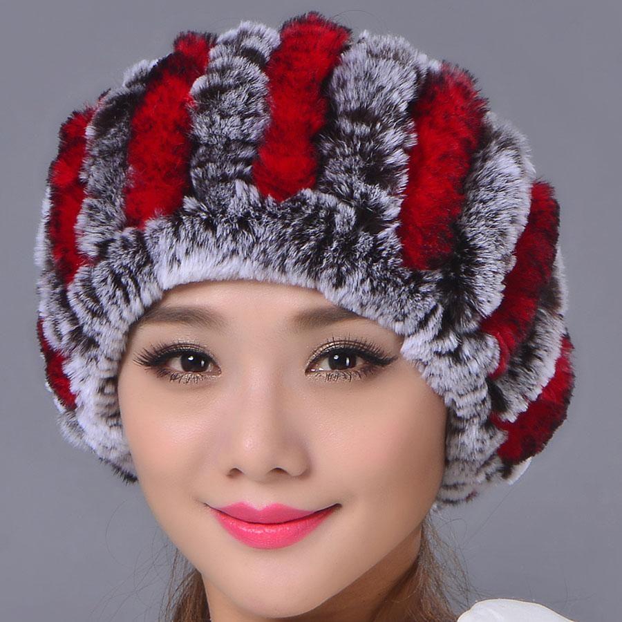 Wholesale- Pelz strickte Stirnband Used As Schal Frauen warmer Winter realer Pelz Caps Ohr-Wärmer Kopfverpackung