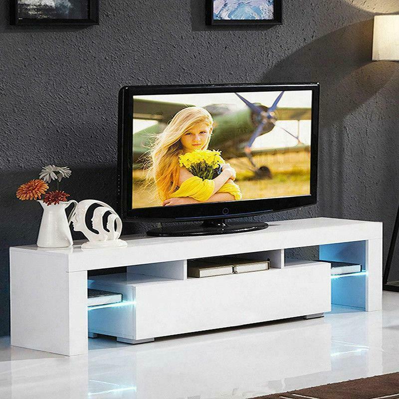 """51"""" Bois Laqué LED TV Stand Divertissement Meubles Center Console Cabinet"""