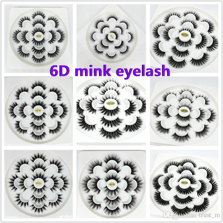 6D Mink Eyelashes Natural False Eyelashes Long Eyelash Extension Faux Fake Eye Lashes Makeup Tool 7 Pairs/set