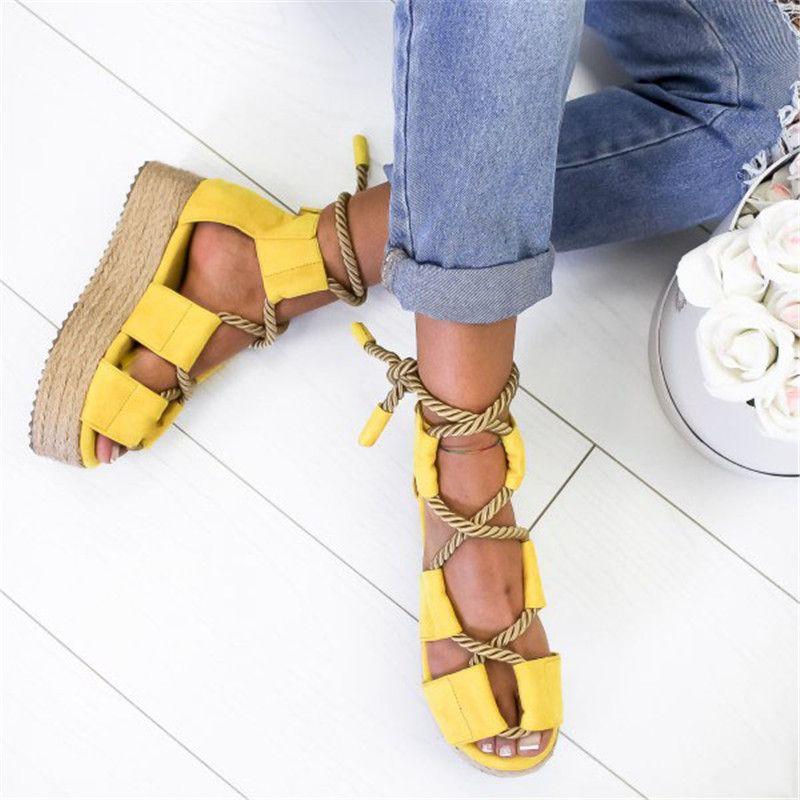 2020 chaussures d'été de plage femmes sandales femmes mode coincent talons hauts sandales confortables fond épais talon plus la taille 35-43