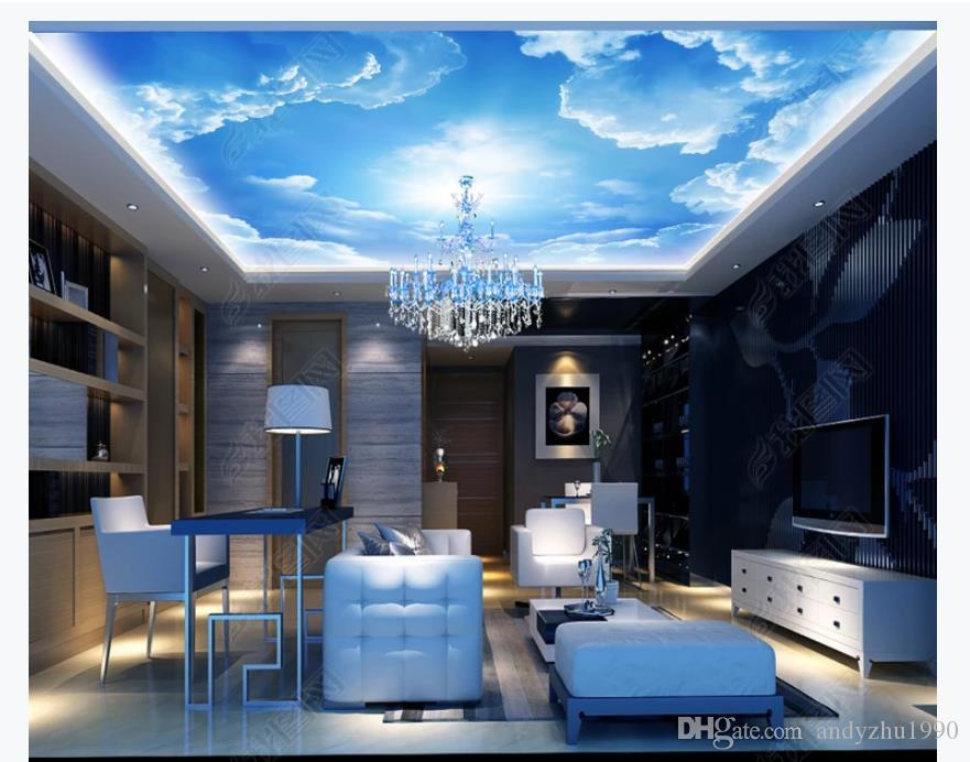 Custom 3d Large Silk Ceiling Mural Photo Wallpaper Blue Sky And White Clouds Zenith Living Room Bedroom Ceiling Mural Wallpaper For Walls 3d Desktop