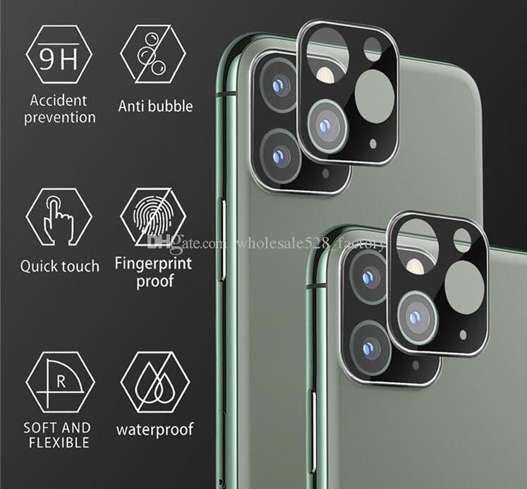 제품과 함께 iPhone11 11Pro 최대 카메라 렌즈 화면 보호기 티타늄 전체 커버 블랙 골드 실버를위한 렌즈 카메라 필름 강화 유리