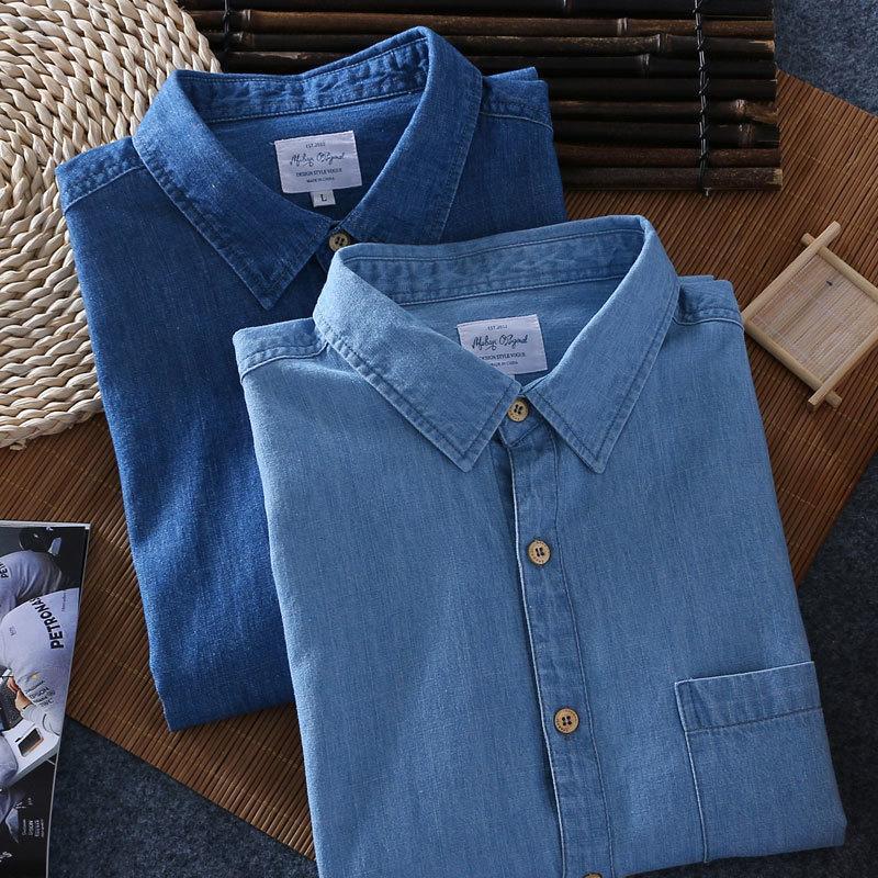 Nouveau mode 2020 hommes à manches courtes Denim shirt de qualité d'été 100% coton hommes Décontractée court shirt respirant T200622