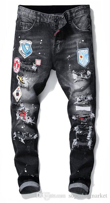 Badge pour hommes déchire Stretch Black Jeans Mode Designer Slim Fit Motocycle Denim Pantalon Pantalon Hip Hop Pantalon