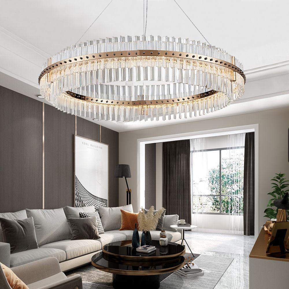 Moderne Kristallkronleuchter im Wohnzimmer Ring LED-Kronleuchter Decke Luxusschlafzimmer Beleuchtungsvorrichtungen Gold-Bronze / Chrome