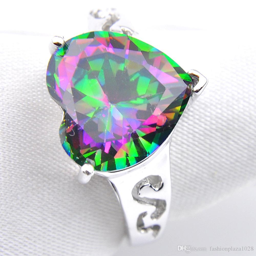 5 szt. Lot Luckyshine Hurtownie Wakacje Biżuteria Serce Rainbow Mystic Topaz Gems 925 Silver Ring Kobiety Cubic Cyrkon Ring Rozmiar 7 8 9