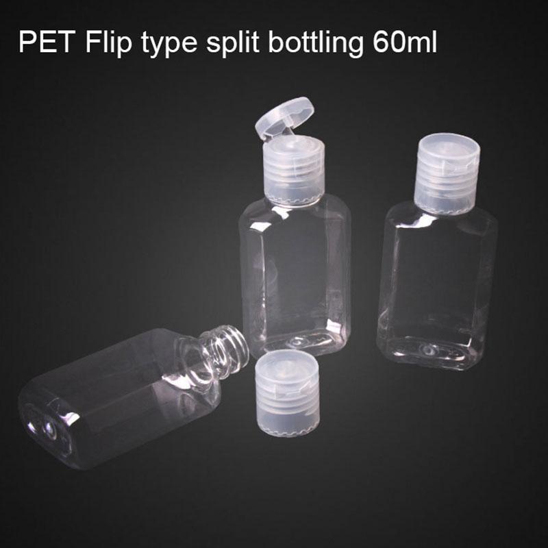 Dropshipping 60ml mano sterilizzatore gel bottiglia trasparente bottiglia di PET liquido sub-packing squeeze viaggi portatile a mano bottiglia di sapone Imballaggio B1703
