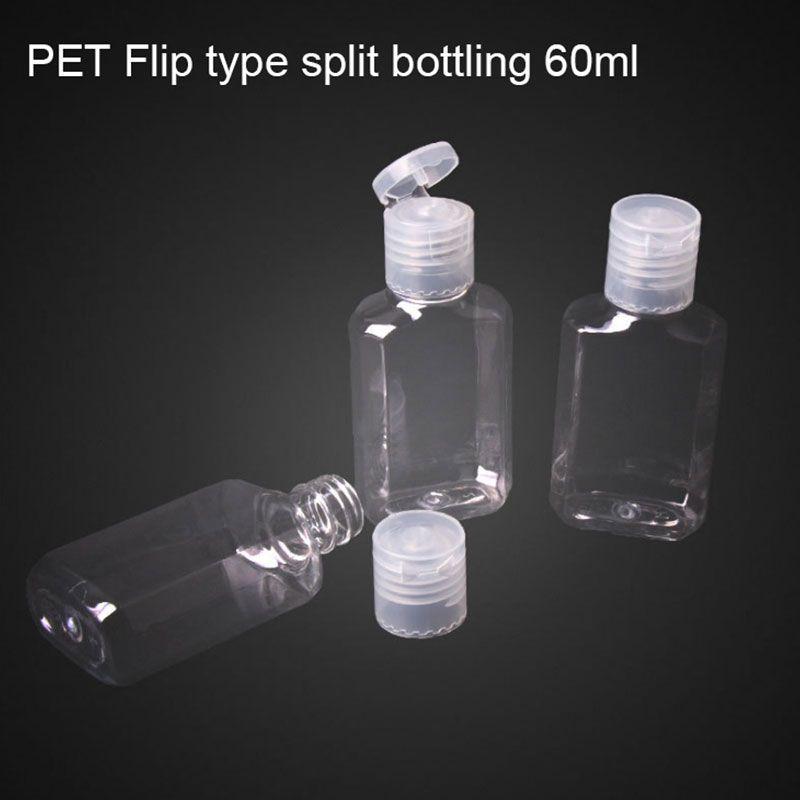 Dropshipping 60 ml botella de gel desinfectante para las manos transparente botella de PET líquido sub-embalaje apretón de mano portátil de viaje botella de jabón Embalaje B1703