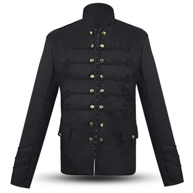 Mens Vintage Gothic Jacket Coat Long Sleeve Buttons Coat Medieval Clothing Retro Party Steampunk Jackets Overcoat Male Outwear