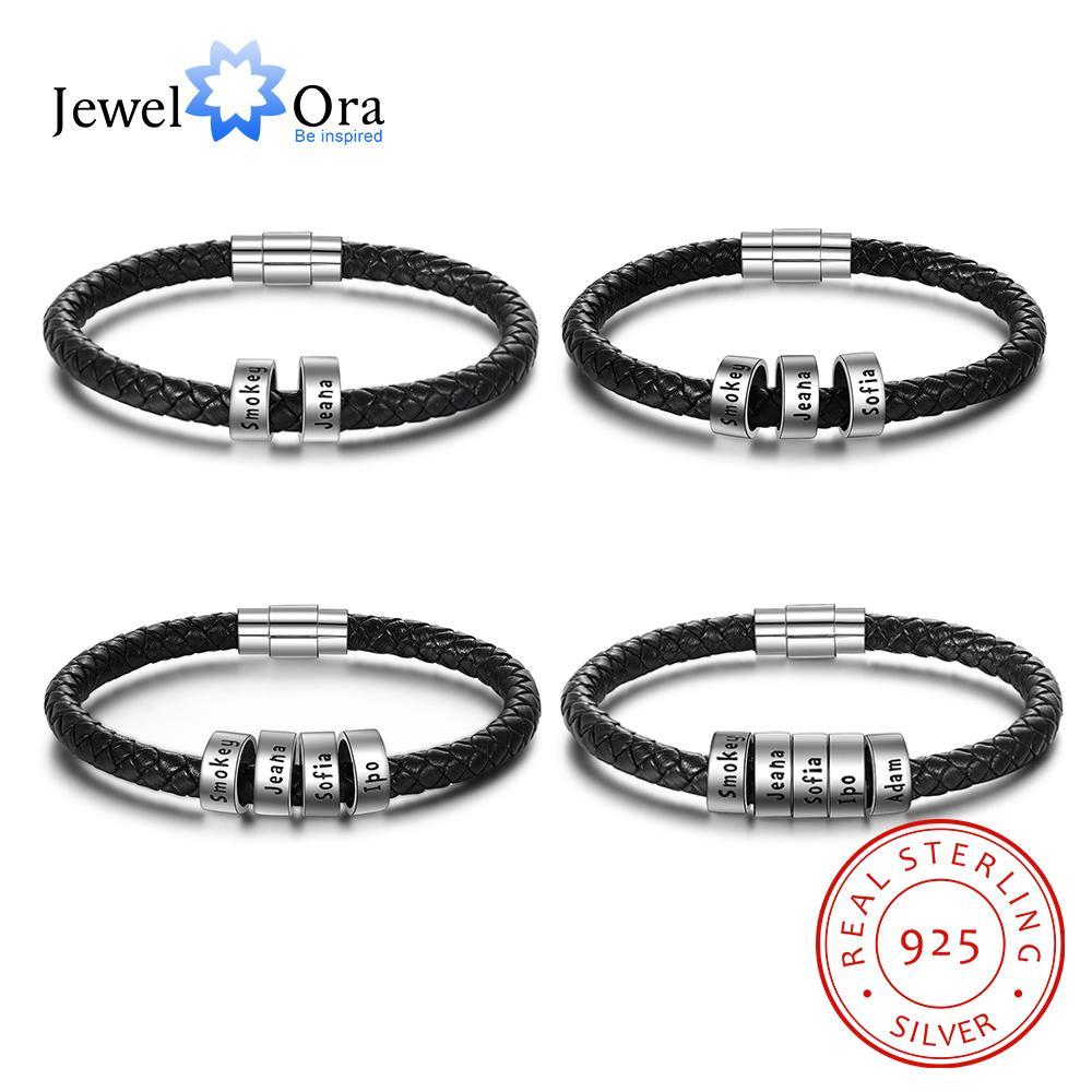 JewelOra стерлингового серебра 925 персонализированные пользовательские 2-5 имен бусины браслеты для мужчин Шарм черный плетеный кожаный браслет ювелирные изделия CX200623