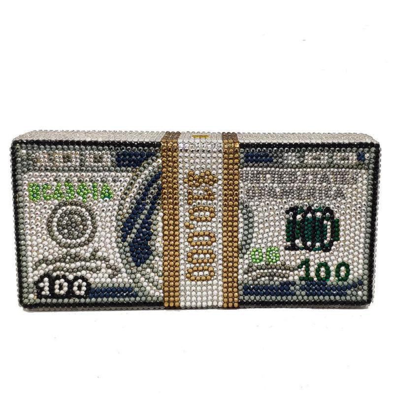 Johnature Moda Yeni Kadın Debriyaj Çanta Elmas Akşam Çanta Parti Çanta Kristal Para Doları Çantaları Çanta Küçük El Çantası