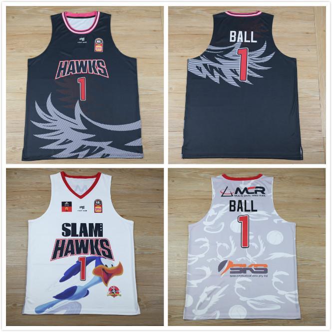 2020 قميص جديد SLAM الصقور الدوري الأوروبي مخيط مخيط 1 Lamelo الكرة انضم اللاعب بالقميص جيرسي رخيصة كرة السلة جيرسي أبيض أسود