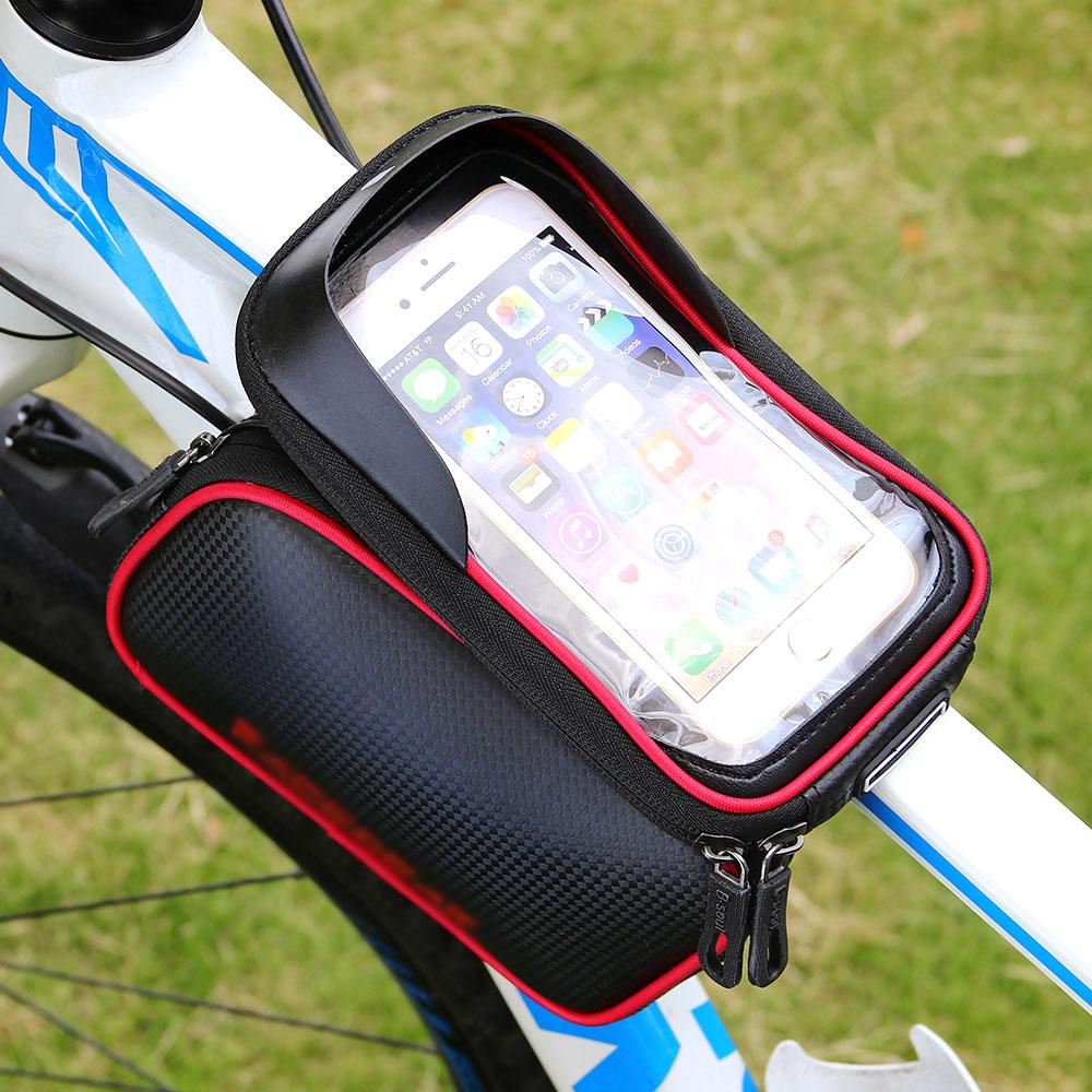 ET Waterproof Phone Bag MTB Bicycle Cycling Front Top Tube Frame Bag 6.0 Inch Touchscreen Bicycle Bags Mobile Phone Pouch Cover