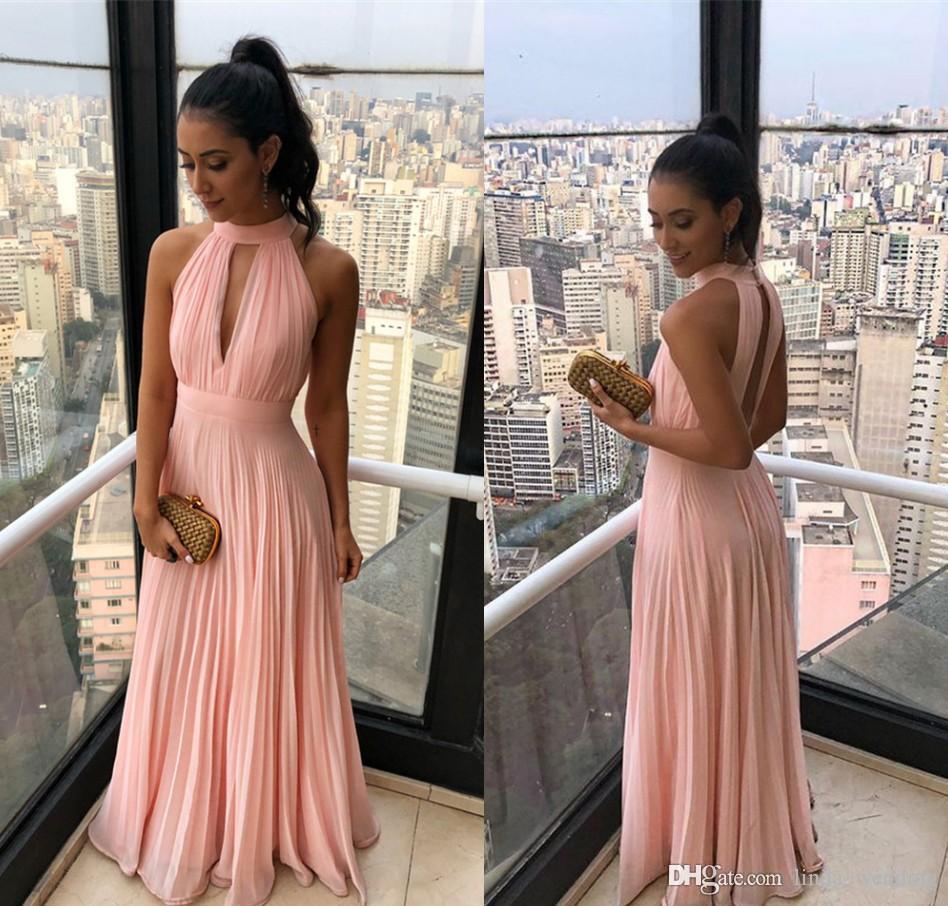 Novos vestidos de dama de honra rosa halter chiffon boho verão país jardim formal festa de casamento convidados dama de honra vestidos plus size custom made