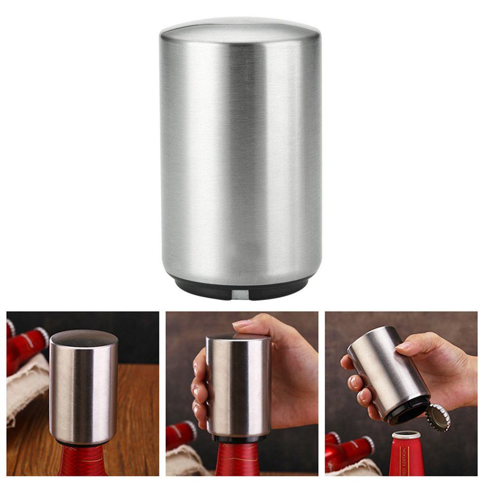 Criativo aço inoxidável 304 abridor de garrafas de cerveja de imprensa tampa aberta Tools tipo impulso utensílio magnetita abridor Bar LJJA3317-1